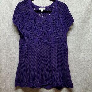 Dress Barn Purple Crochet Knit Top EUC Sz 22/24
